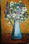 Blue can with flowers